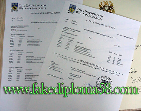 University of Western Australia transcript