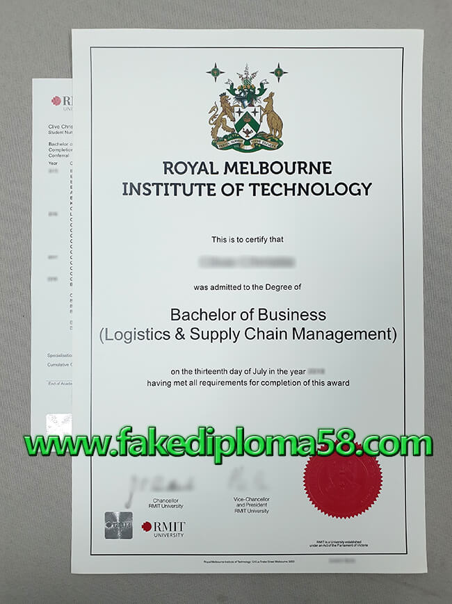 Fake RMIT University Diploma, Fake Royal Melbourne Institute of Technology University Degree Certificate