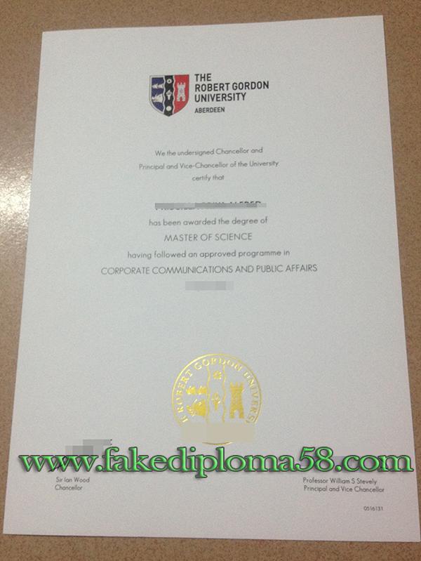 Robert Gordon University degree sample