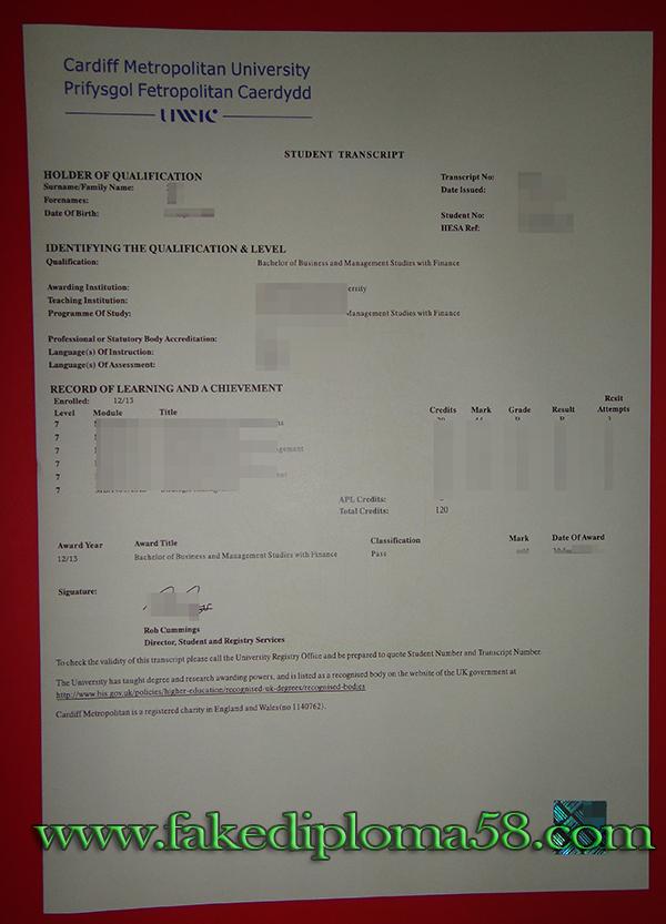 Cardiff Metropolitan University transcript