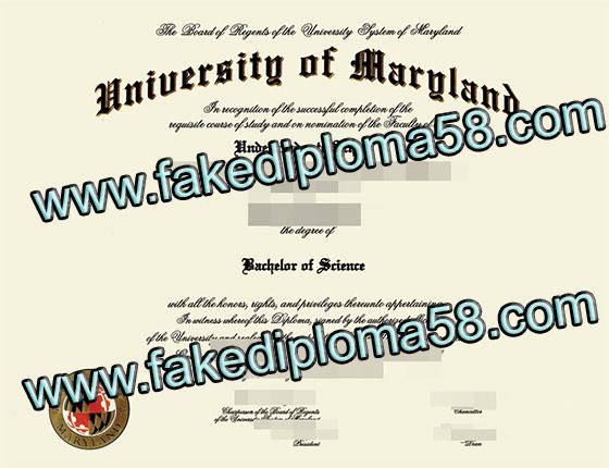 University of Maryland degree sample