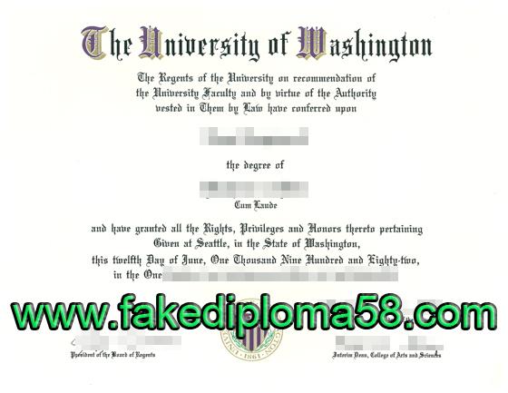 The university of Washington diploma sample