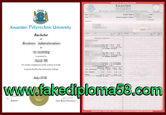 Kwantlen Polytechnic University degree and transcript sample