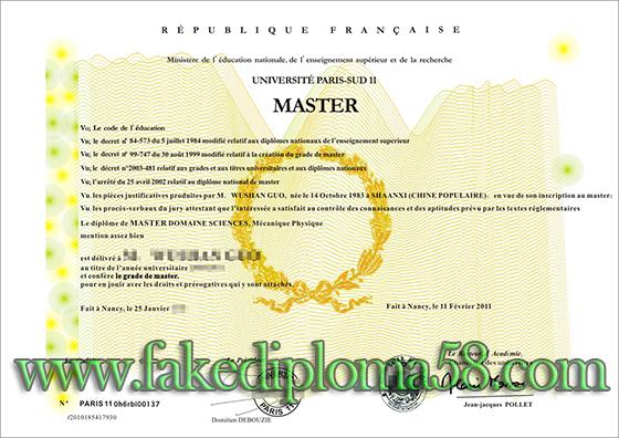 high quality fake University of Paris-Sud 11 degree, French diploma