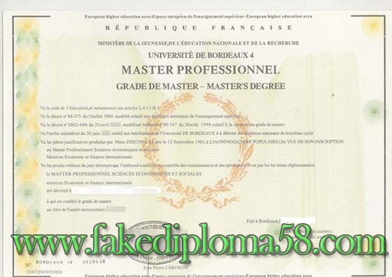 University Montesquieu - Bordeaux IV fake degree