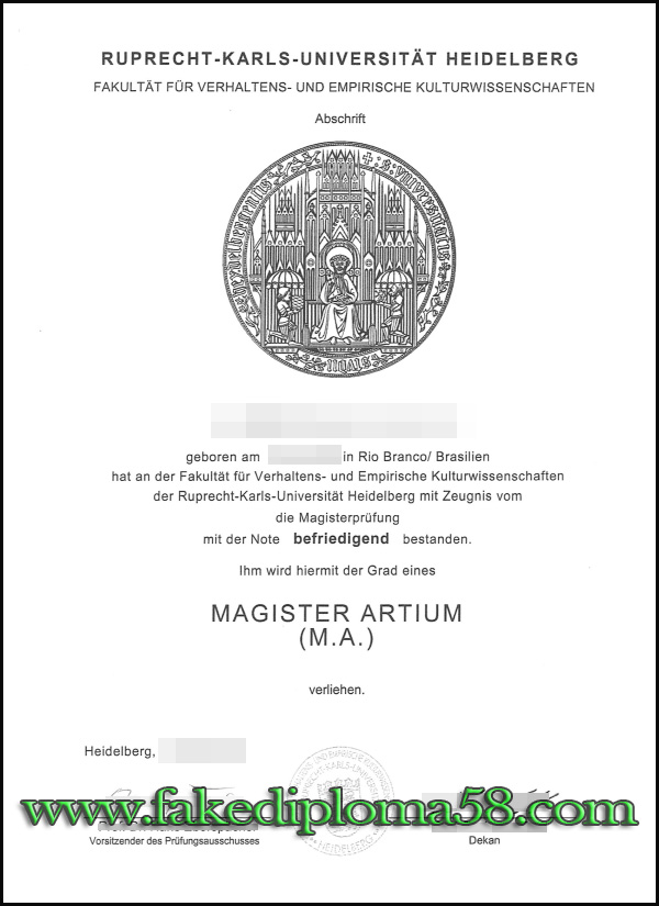 Universitaet Heidelberg fake degree sample