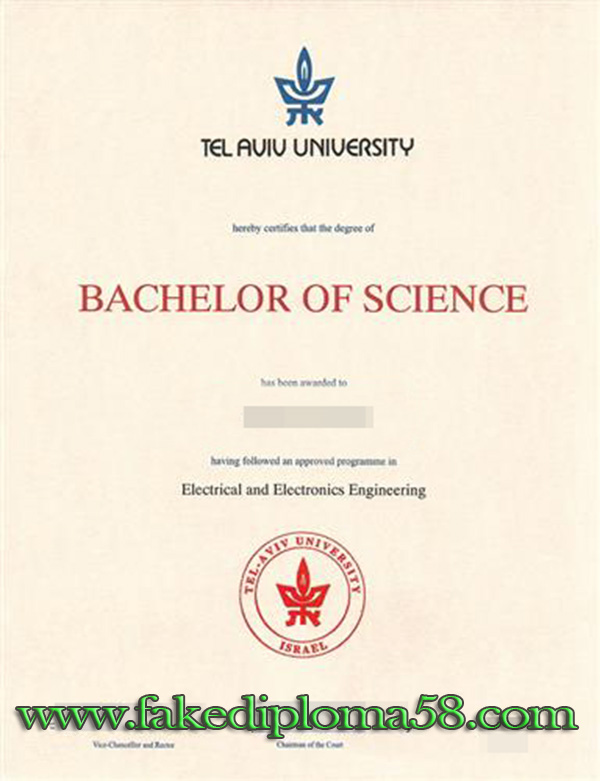 Tel Aviv University degree sample from Israel