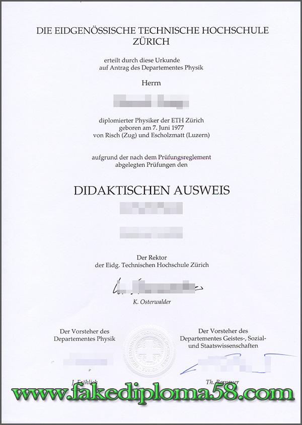 Eidgenössische Technische Hochschule Zürich Diploma