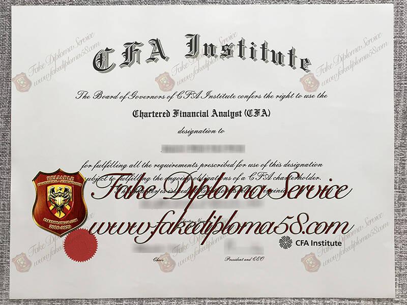 Fake CFA institute certificate