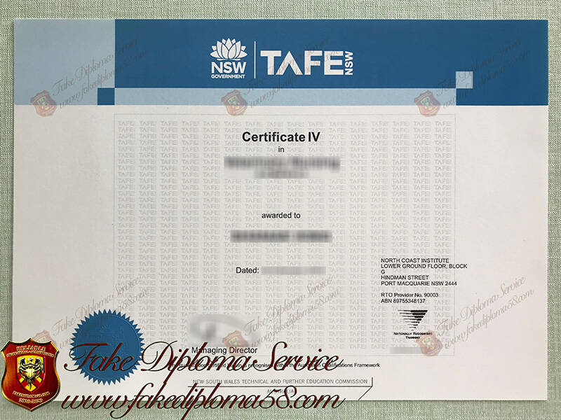 Fake New South Wales TAFE Certificate
