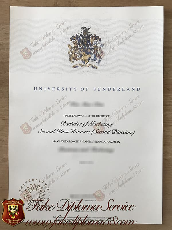 Fake University of Sunderland diploma