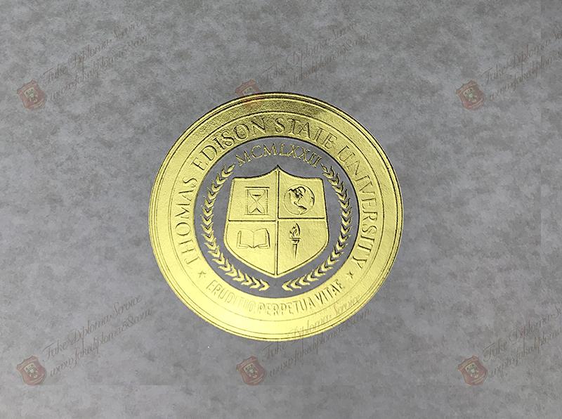 The seal of Thomas Edison StaIe University