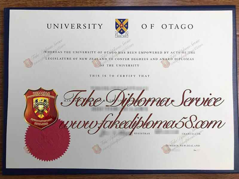 fake University of Otago diploma