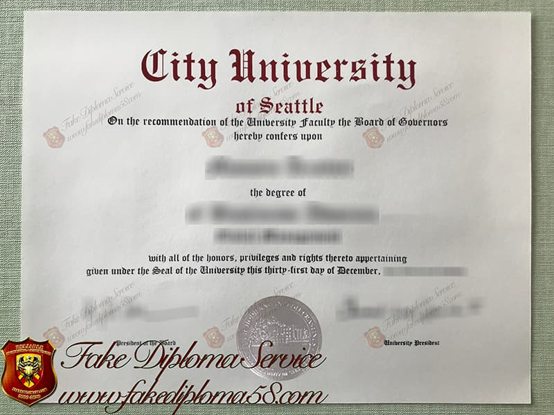 Fake City University of Seattle degree certificate
