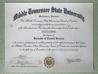 Buy Fake Middle Tennessee State University Diploma, MTSU Degree Certificate