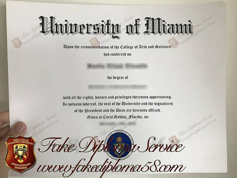 University of Miami Fake Diploma