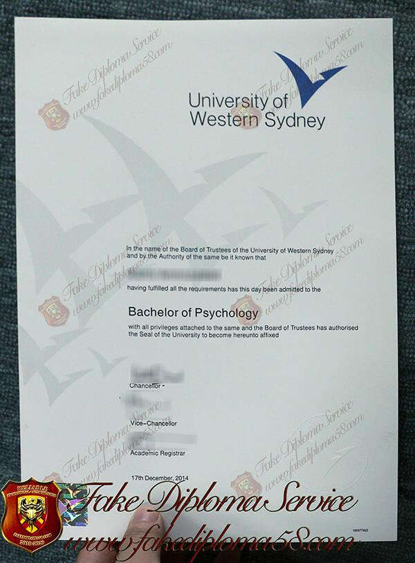 University of Western Sydney Fake Degree Certificate
