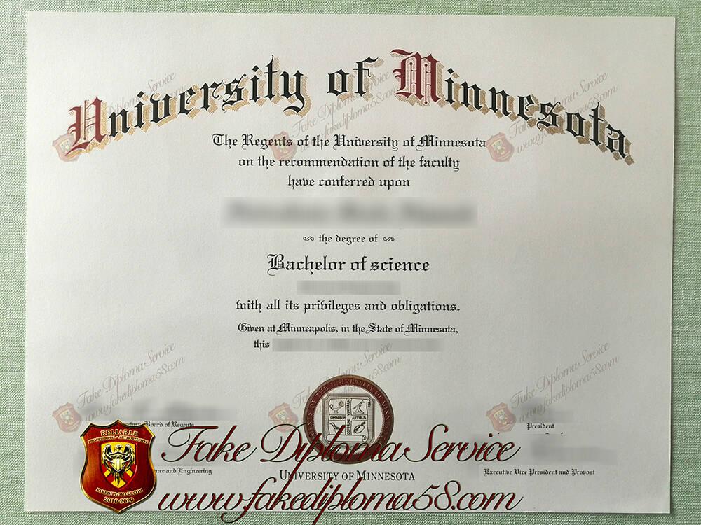 fake University of Minnesota diploma