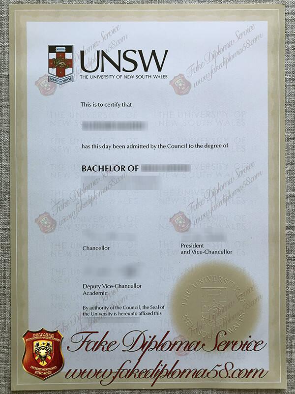 fake University of New South Wales diploma