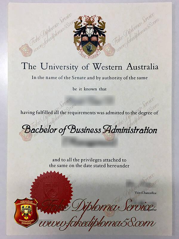fake University of Western Australia diploma