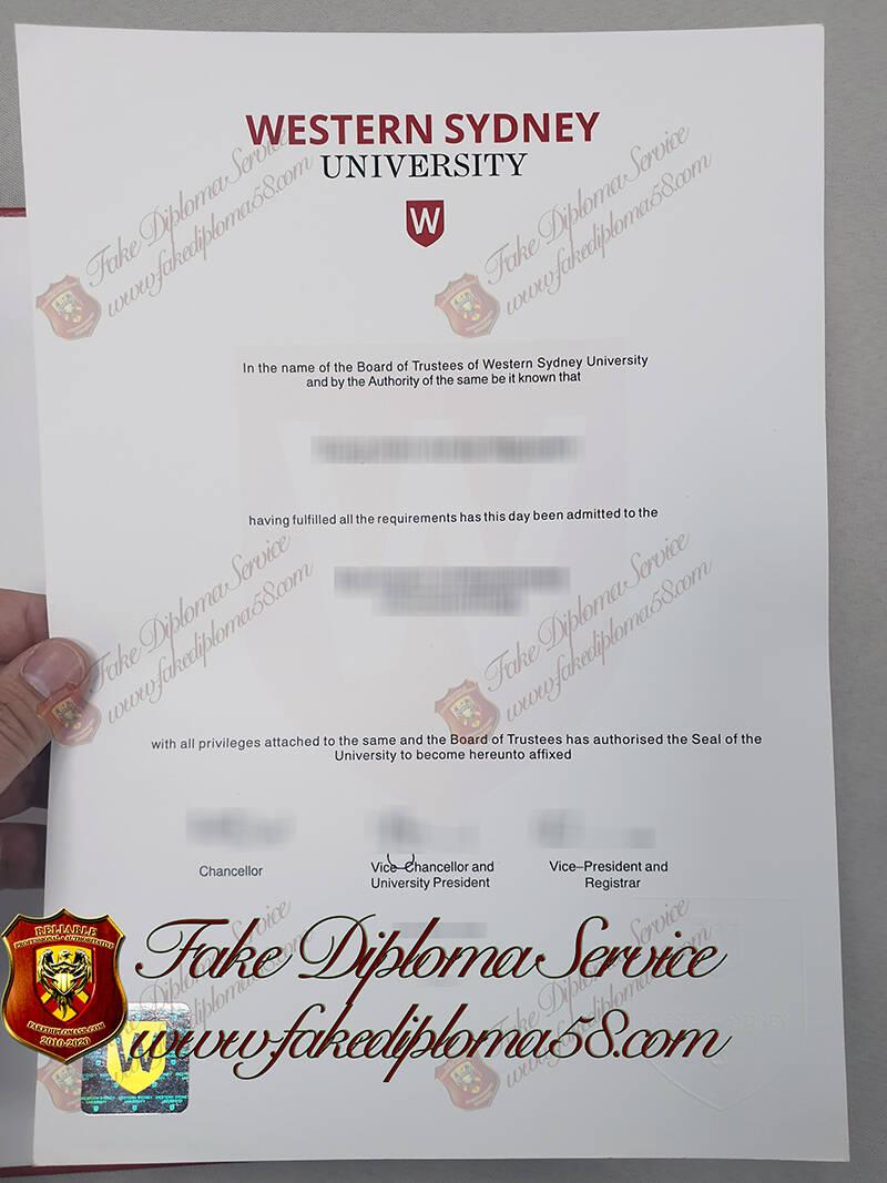 fake University of Western Sydney diploma