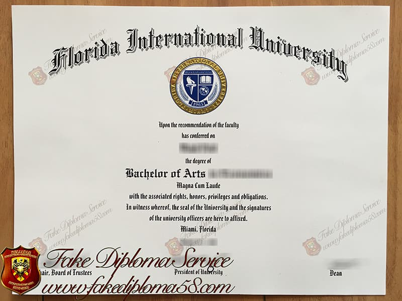 Fake Florida International University diploma