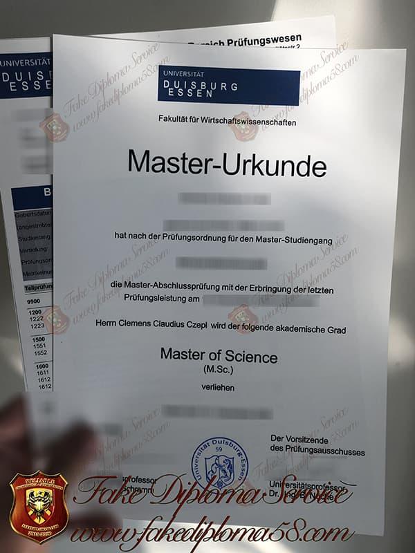 Fake University of Duisburg Essen diploma