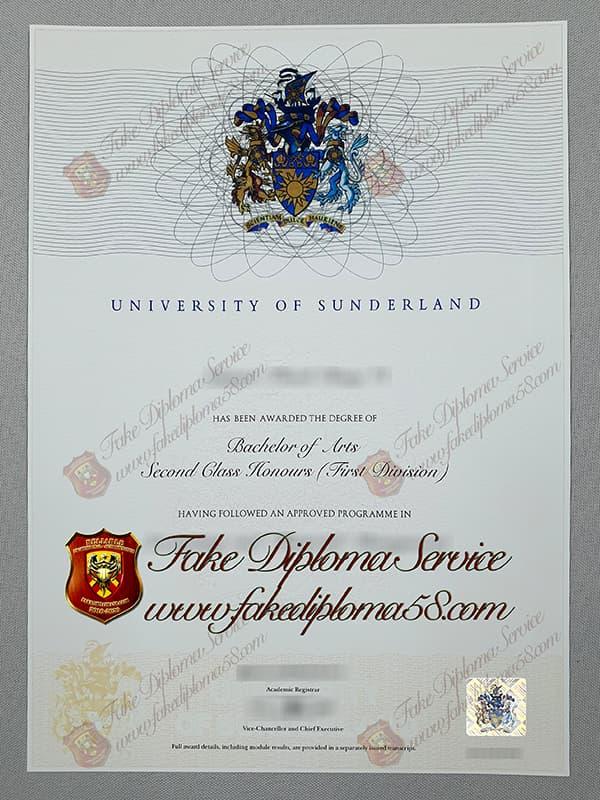 Fake University of Sunderland Diploma certificate