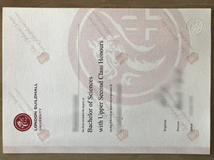 London Guildhall University degree certificate