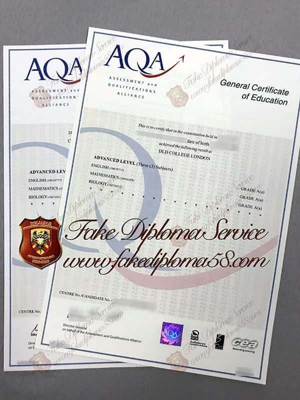 fake AQA GCE certificate