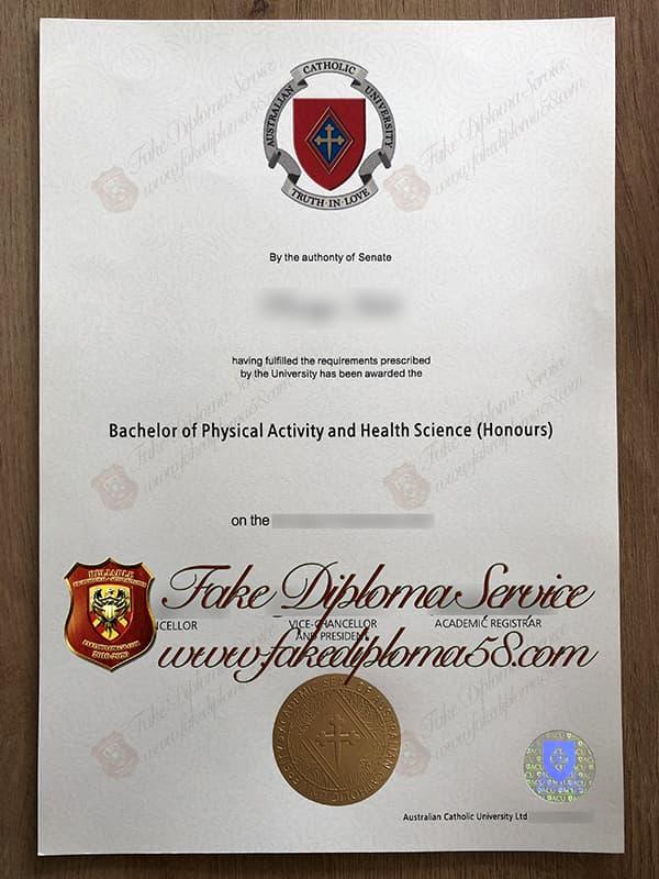fake Australian Catholic University diploma