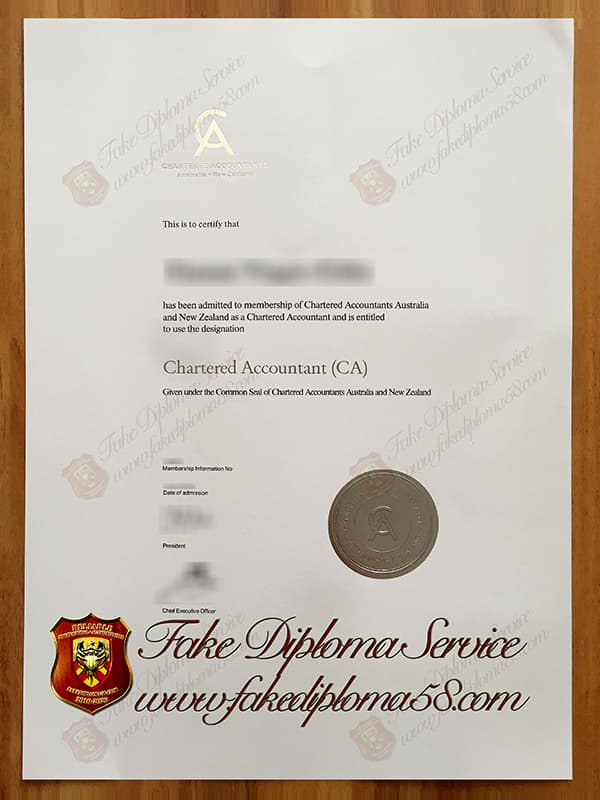 fake Chartered Accountants Australia and New Zealand certificate
