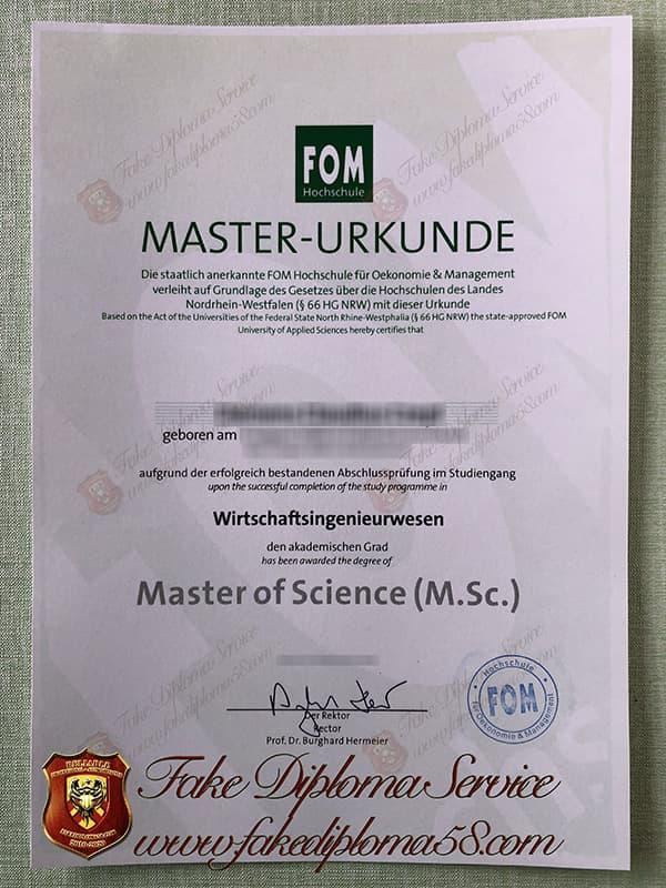fake FOM Hochschule diploma