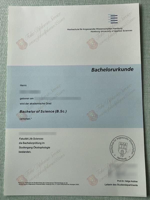 fake HAW diploma, Hochschule für Angewandte Wissenschaften Hamburg diploma
