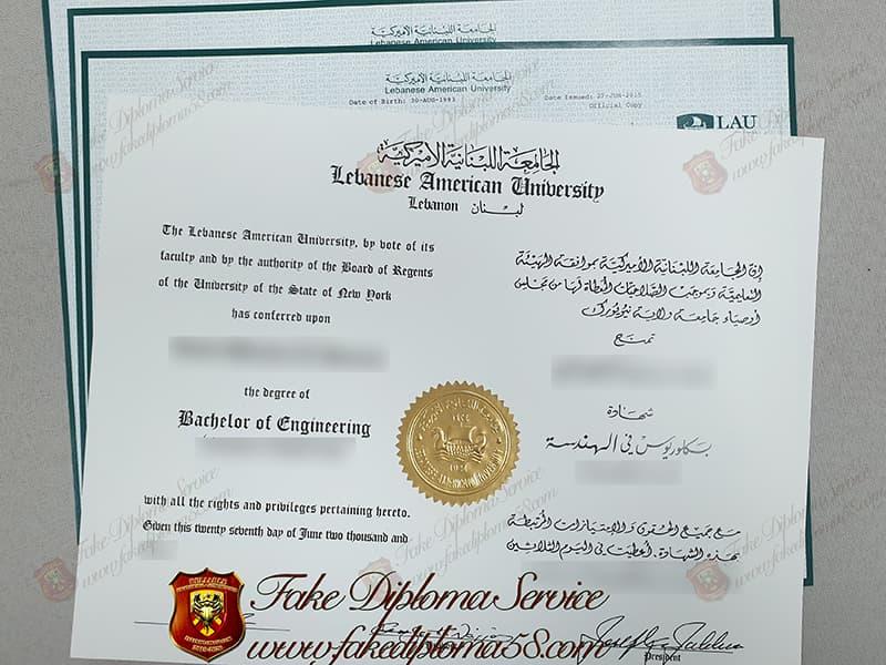 fake Lebanese American University diplom