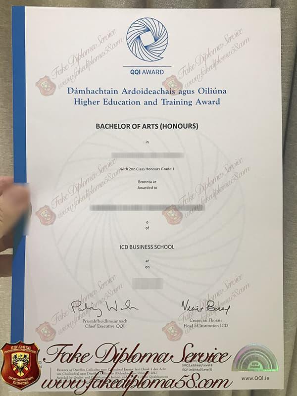 fake QQI Award diploma