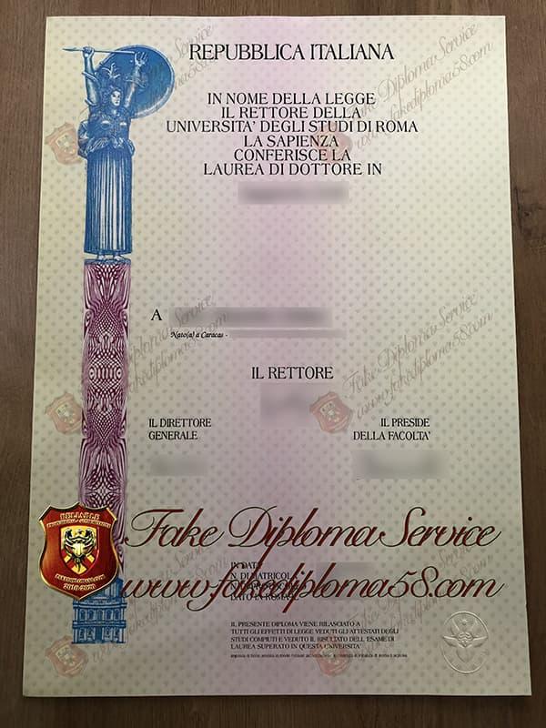 fake Sapienza University of Rome diploma