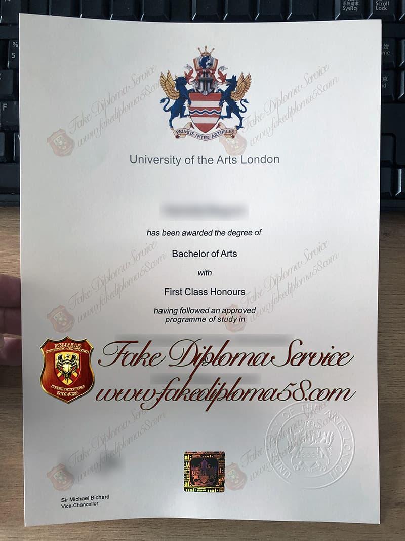fake UAL diploma, University of the Arts London diploma