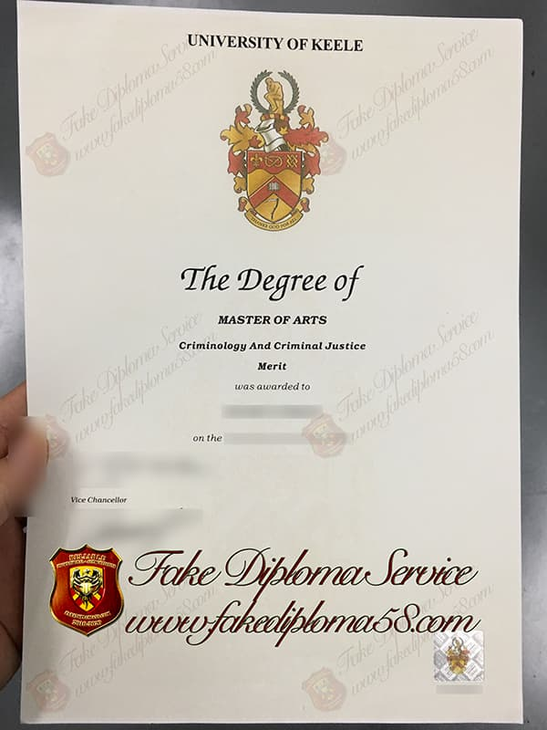 fake University of Keele degree certificate