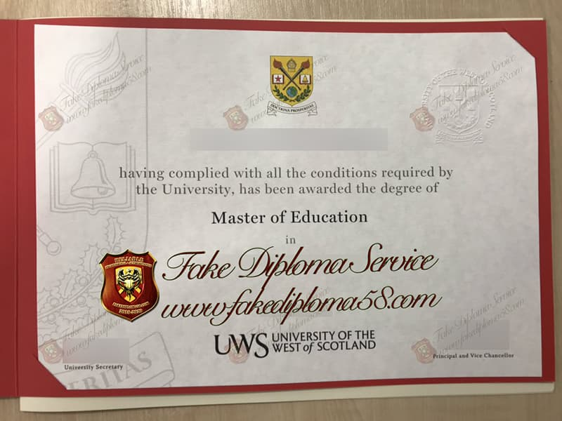 fake University of the West of Scotland diploma