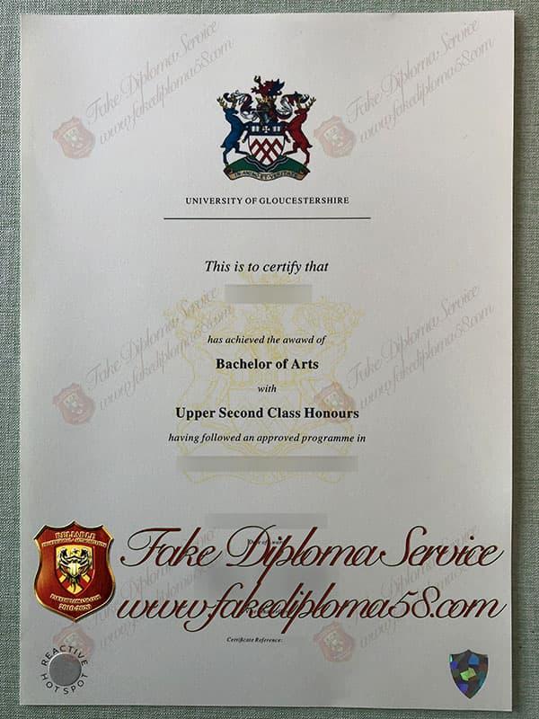 fake University of Gloucestershire degree, fake University of Gloucestershire diploma