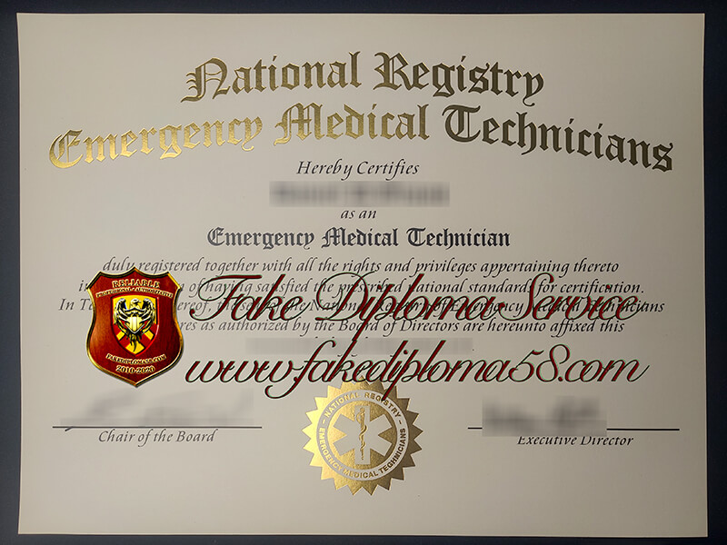 National Registry Emergency Medical Technicians fake certificate, NREMT Certificate