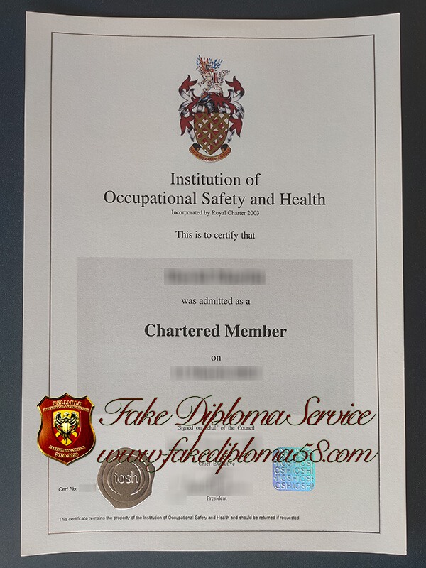 fake IOSH certificate, fake Institution of Occupational Safety and Health certificate