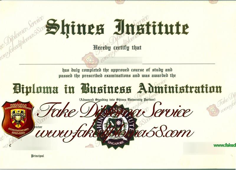 Shines Institute diploma