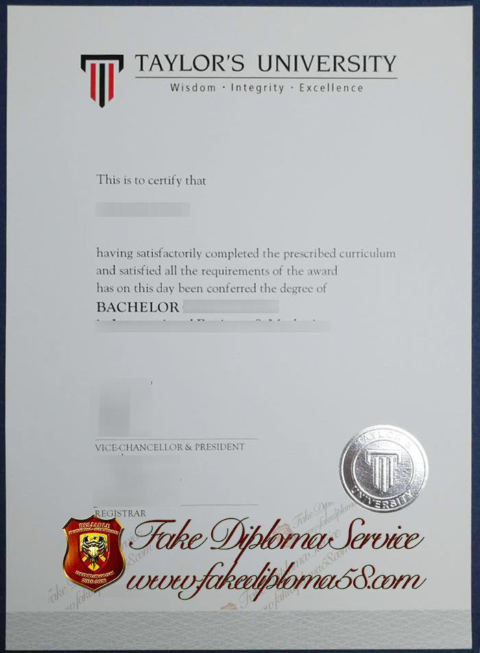 Taylor's university diploma