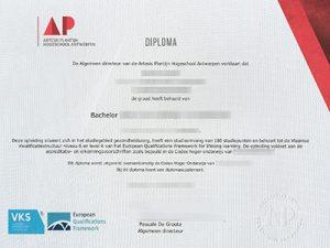 Artesis Hogeschool Antwerpen diploma